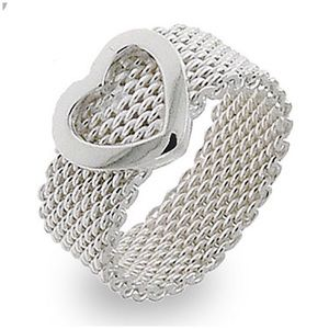 *RARE* Antique Somerset Mesh Heart Ring - Tiffany